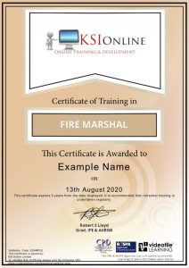Sample fire marshal training certification, RoSPA approved online training course